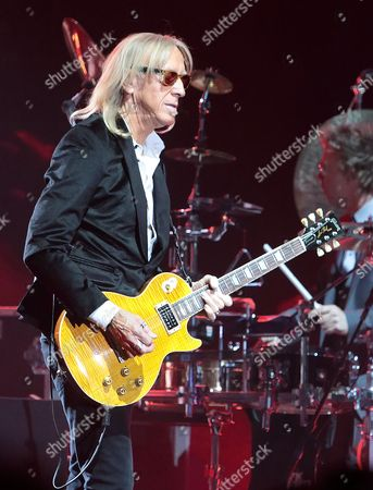 Guitarist Davey Johnstone performs with Elton John in concert during the All the Hits Tour 2015 at the Santander Arena, in Reading, Pa