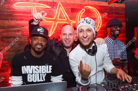 Stock Image of Jermaine Dupri, left, Noah Tepperberg, middle, and DJ Vice, right, are seen at Elyx presents TAO Nightclub at Sundance 2015, in Park City, Utah