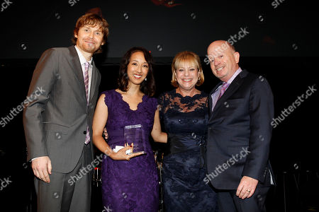 """Honorees, Co-creators executive and producers of Marvel's Agents of S.H.I.E.L.D. Jed Whedon, Maurissa Tancharoen Whedon, Judy Barlin, and Wayne Barlin seen at the Lupus Foundation of America's """"Evening of Hope"""" Gala, on in New York"""