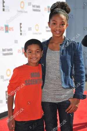 "Sayeed Shahidi, left, and Yara Shahidi attend the ""Express Yourself"" creative arts fair at The Barker Hangar, in Santa Monica, Calif"