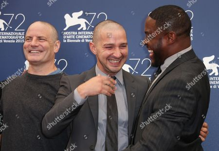 Dito Montiel,Shia La Beouf and Nick Jones Jr. pose for photographers at the photo call for the film Man Down 72nd edition of the Venice Film Festival in Venice, Italy, . The 72nd edition of the festival runs until Sept. 12
