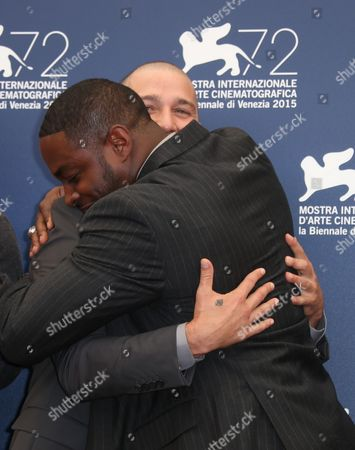 Shia La Beouf and Nick Jones Jr. pose for photographers at the photo call for the film Man Down 72nd edition of the Venice Film Festival in Venice, Italy, . The 72nd edition of the festival runs until Sept. 12