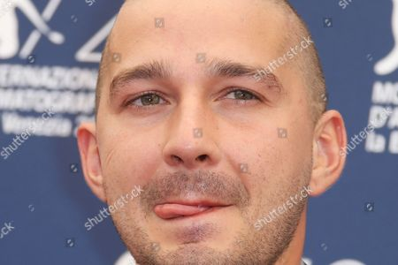 Stock Photo of Shia La Beouf poses for photographers at the photo call for the film Man Down 72nd edition of the Venice Film Festival in Venice, Italy, . The 72nd edition of the festival runs until Sept. 12