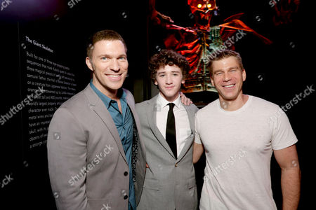 """Director/Producer Travis Knight, Art Parkinson and Screenwriter Marc Haimes seen at Focus Features Los Angeles Premiere of LAIKA """"Kubo and The Two Strings"""", in Universal City, Calif"""