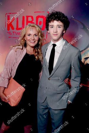 """Stock Photo of Movania Parkinson and Art Parkinson seen at Focus Features Los Angeles Premiere of LAIKA """"Kubo and The Two Strings"""", in Universal City, Calif"""
