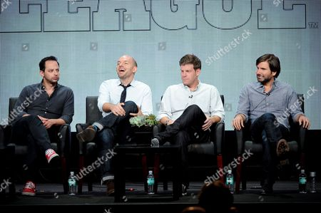 """From left, actors Nick Kroll, Paul Scheer, Stephen Rannazzisi and Jon Lajoie participate in """"The League"""" panel at the FX 2013 Summer TCA press tour at the Beverly Hilton Hotel on in Beverly Hills, Calif"""
