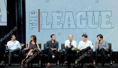 """From left, executive producers Jeff Schaffer, Jackie Marcus Schaffer, actors Nick Kroll, Paul Scheer, Stephen Rannazzisi and Jon Lajoie participate in """"The League"""" panel at the FX 2013 Summer TCA press tour at the Beverly Hilton Hotel on in Beverly Hills, Calif"""