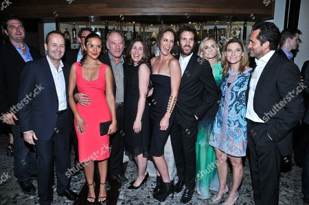 "L-R): Producer Elwood Reid, FX Network President John Landgraf, actress Catalina Sandino Moreno, actor Ted Levine, producer Carolyn Bernstein, actors Annabeth Gish, Thomas Wright and Diane Kruger, producer Meredith Stiehm and actor Demian Bichir are seen at the after-party for the premiere of FX Network's series ""The Bridge"" on in Los Angeles, California"