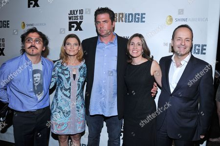"From Left: Director Gerardo Naranjo, producers Meredith Stiehm, Elwood Reid and Carolyn Bernstein and FX Network President John Landgraf are seen at the premiere of FX Network's series ""The Bridge"" on in Los Angeles, California"