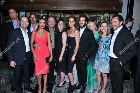 "L-R): Producer Elwood Reid, FX Network President John Landgraf, actors Matthew Lillard, Catalina Sandino Moreno and Ted Levine, producer Carolyn Bernstein, actors Annabeth Gish, Thomas Wright and Diane Kruger, producer Meredith Stiehm and actor Demian Bichir are seen at the after-party for the premiere of FX Network's series ""The Bridge"" on in Los Angeles, California"