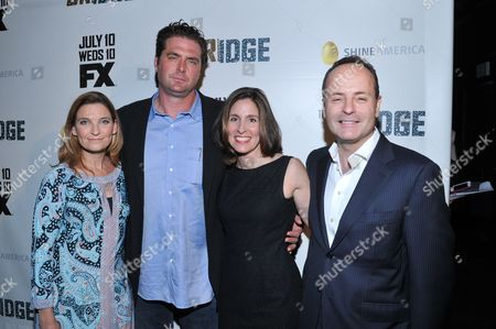 "Producers ( from L): Meredith Stiehm, Elwood Reid and Carolyn Bernstein and FX Network President John Landgraf are seen at the premiere of FX Network's series ""The Bridge"" on in Los Angeles, California"