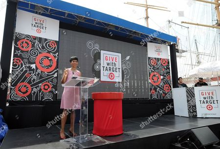 Laysha Ward, President of Community Relations at Target, announces Target $5 million education initiative, Give With Target, during a kick-off celebration in New York City on . Learn more at http://abullseyeview.com/category/give-with-target