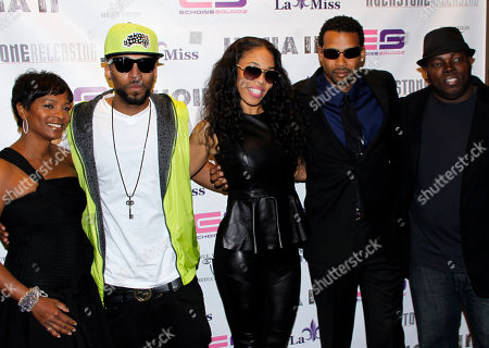"""Actress Vanessa Bell Calloway, record producer Drummer Boy, film producer Monica """"Doll Phace"""" Floyed, actor Trae Ireland and director H.M. Coakley attend Holla II Movie Premiere - NYC on Wed, at AMC Empire 25 in New York. NY"""