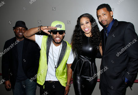 """L-R) Director H.M. Coakley, composer Drumma Boy, executive producer Monica """"Doll Phace"""" Floyed and actor Trae Ireland attend Holla II Movie Premiere - NYC on Wed, at AMC Empire 25 in New York. NY"""