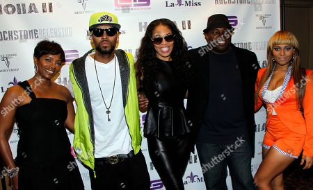 """Actress Vanessa Bell Calloway, record producer Drummer Boy, film producer Monica """"Doll Phace"""" Floyed, director H.M. Coakley and actress Teairra Mari attend Holla II Movie Premiere - NYC on Wed, at AMC Empire 25 in New York. NY"""
