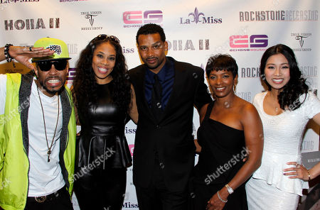 """L-R) Composer Drumma Boy, executive producer Monica """"Doll Phace"""" Floyed, actors Trae Ireland, Vanessa Bell Calloway and Crystal Hoang attend Holla II Movie Premiere - NYC on Wed, at AMC Empire 25 in New York. NY"""