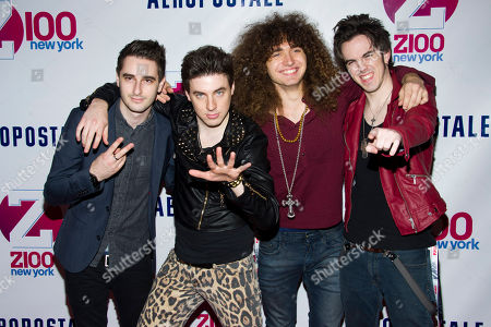 Stock Photo of Members of the group The All Ways, from left to right, Ron Geffen, Austin Massirman, Andre Jevnik and Pat Heraghty attend Z100's Jingle Ball on in New York