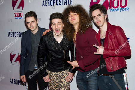 Stock Image of Members of the group The All Ways, from left to right, Ron Geffen, Austin Massirman, Andre Jevnik and Pat Heraghty attend Z100's Jingle Ball on in New York