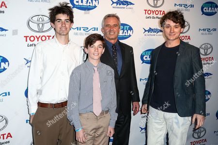 Conor Richard Kennedy, from left, Aiden Caohman Vieques Kennedy, Robert F. Kennedy, Jr. and Bobby Kennedy III attend the Keep it Clean Live Comedy Benefit held at Avalon Hollywood, in Los Angeles