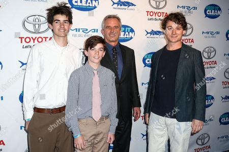 Stock Photo of Conor Richard Kennedy, from left, Aiden Caohman Vieques Kennedy, Robert F. Kennedy, Jr. and Bobby Kennedy III attend the Keep it Clean Live Comedy Benefit held at Avalon Hollywood, in Los Angeles