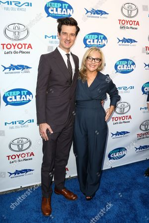 Christian Hebel, left, and Rachel Harris attend the Keep it Clean Live Comedy Benefit held at Avalon Hollywood, in Los Angeles