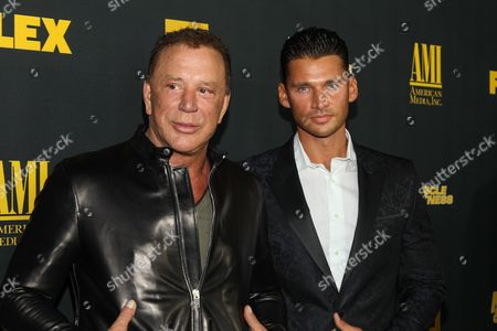 """Actor Mickey Rourke and director/producer Vlad Yudin arrive at the premiere of """"Generation Iron"""" at the Chinese 6 Theatres on in Los Angeles"""