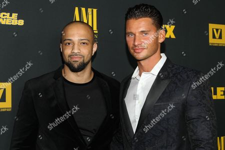 """From left, producer Edwin Mejia and director/producer Vlad Yudin arrive at the premiere of """"Generation Iron"""" at the Chinese 6 Theatres on in Los Angeles"""