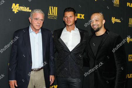 """From left, producer Jereome Gray, director/producer Vlad Yudin, and producer Edwin Mejia arrive at the premiere of """"Generation Iron"""" at the Chinese 6 Theatres on in Los Angeles"""