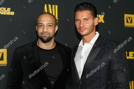 """From left, producer Edwin Mejia and director/producer Vlad Yudin arrive at the premiere of """"Generation Iron"""" at the Chinese 6 Theaters on in Los Angeles"""