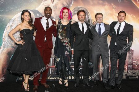 From left, Actors Mila Kunis, David Ajala, Director Lana Wachowski, actors Kick Gurry, Sean Bean, and Channing Tatum attend the premiere of Warner Bros. Pictures' 'Jupiter Ascending' at TCL Chinese Theatre on in Hollywood, Calif