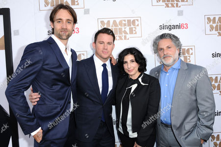 "Producer/writer Reid Carolin, from left, Channing Tatum, Sue Kroll, president, worldwide marketing and international distribution, Warner Bros. Pictures, and director/producer Gregory Jacobs arrive at the Los Angeles premiere of ""Magic Mike XXL"" at the TCL Chinese Theatre on"