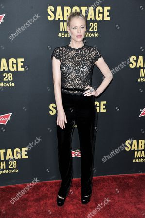 """Cynthia Kirchner arrives at the LA Premiere of """"Sabotage"""", in Los Angeles"""
