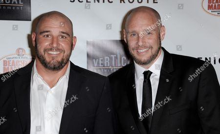 "Kevin Goetz, left, and Michael Goetz arrive at the premiere of ""Scenic Route"" at the Chinese 6 Theater on in Los Angeles"