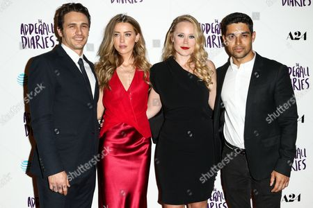 "James Franco, from left, Amber Heard, Pamela Romanowsky and Wilmer Valderrama attend the LA Premiere of ""The Adderall Diaries"" held at ArcLight Hollywood, in Los Angeles"