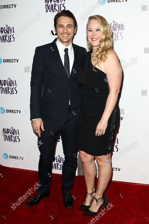 "James Franco, left, and Pamela Romanowsky attend the LA Premiere of ""The Adderall Diaries"" held at ArcLight Hollywood, in Los Angeles"