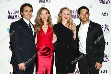 "James Franco, from left, Amber Heard, Pamela Romanowsky and Wilmer Valderama attend the LA Premiere of ""The Adderall Diaries"" held at ArcLight Hollywood, in Los Angeles"