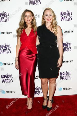 "Amber Heard, left, and Pamela Romanowsky attend the LA Premiere of ""The Adderall Diaries"" held at ArcLight Hollywood, in Los Angeles"