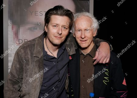 """Waylon Krieger, left, and Robby Krieger arrive at the Los Angeles premiere of """"Transcendence"""" at the Westwood Regency Village Theater on"""