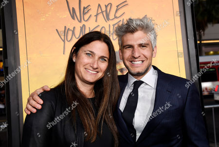 "Max Joseph, right, director and co-screenwriter of ""We Are Your Friends,"" poses with producer Liza Chasin at the premiere of the film at the TCL Chinese Theatre, in Los Angeles"
