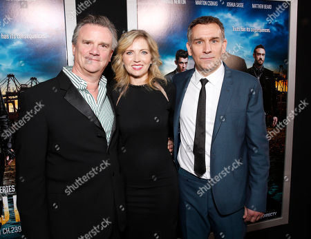 """Producer Nick Hamm, Vice President and General Manager of Audience Network Patty Ishimoto and Producer Matthew Parkhill arrive at the LA premiere of """"Rogue"""" at the ArcLight Hollywood on in Los Angeles"""