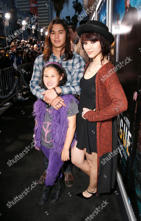 "Boo Boo Stewart, Sage Stewart and Fivel Stewart arrive at the LA premiere of ""Rogue"" at the ArcLight Hollywood on in Los Angeles"