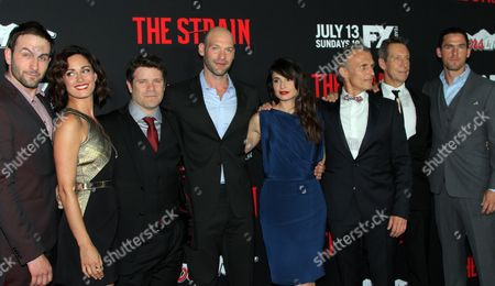 "The Strain Cast: Drew Nelson, Natalie Brown, Sean Astin, Corey Stoll, Mia Maestro, Richard Sammel, Johnathan Hyde and Jack Kesy seen at LA Premiere Screening of ""The Strain"" - Arrivals at DGA Theater, in Los Angeles, California"