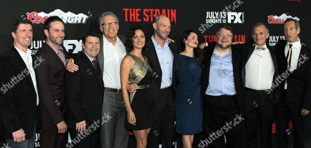 "The Strain Cast: Chuck Hogan, Drew Nelson, Sean Astin, Carlton Cuse, Natalie Brown, Corey Stoll, Mia Maestro, Guillermo Del Toro, Richard Sammel and Johnathan Hyde seen at LA Premiere Screening of ""The Strain"" - Arrivals at DGA Theater, in Los Angeles, California"