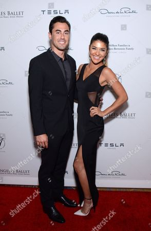 Stock Photo of Scotty McKnight and Jessica Szohr arrive at the Los Angeles Ballet Gala - Arrivals held at the Beverly Wilshire Hotel, in Beverly Hills, California