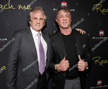 """Director John Herzfeld and Sylvester Stallone attend the Los Angeles Premiere of Millenium Entertainment's """"Reach Me"""" at Chinese 6 Theaters on in Los Angeles"""