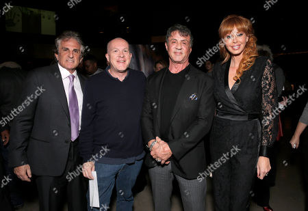 """Director John Herzfeld, producer Cassian Elwes, Sylvester Stallone and producer Rebekah Chaney attend the Los Angeles Premiere of Millenium Entertainment's """"Reach Me"""" at Chinese 6 Theaters on in Los Angeles"""