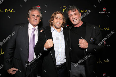 """Director John Herzfeld, Urijah Faber and Sylvester Stallone attend the Los Angeles Premiere of Millenium Entertainment's """"Reach Me"""" at Chinese 6 Theaters on in Los Angeles"""