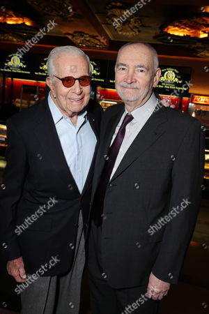 PREMIUM RATES APPLY Walter Mirisch and Michael Wilson kick off MGM's 90th Anniversary with the company's iconic mascot Leo the Lion's Paw Print ceremony at the TCL Chinese Theater in Hollywood on