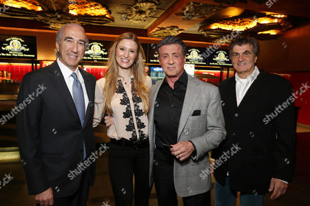 PREMIUM RATES APPLY MGM's Chairman and CEO, Gary Barber, Alwyn Hight Kushner, President & COO, TCL Chinese Theatre, Sylvester Stallone and Donald Kushner kick off MGM's 90th Anniversary with the company's iconic mascot Leo the Lion's Paw Print ceremony at the TCL Chinese Theater in Hollywood on
