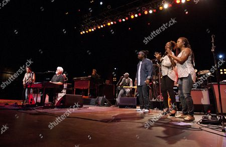 Stock Picture of Steve Lukather, Michael McDonald, Tommy Simms, Mabvuto Carpenter and Jenny Douglas performed as part of the Michael McDonald and Toto co-headlining tour at the Fox Theatre, in Atlanta, Ga
